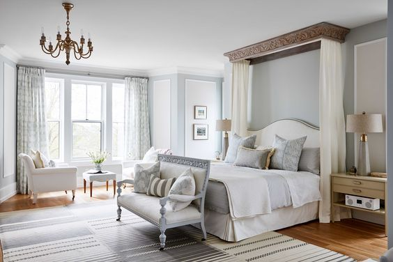 Timeless and tranquil blue grey bedroom with European inspired elegance.
