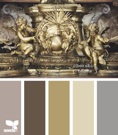 cherubic tones - second from left for the dining room accent wall; second from right for the neutral that spans to the kitchen. Perhaps the gold or blue for the kitchen when the time comes....