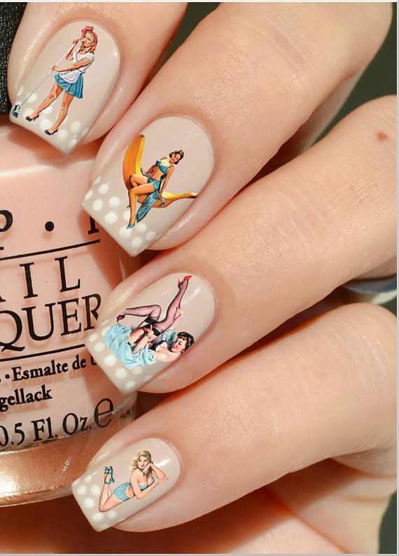 Nail Decals Vintage Pinup Girls Water Nail by lavitaebella1986, $4.50