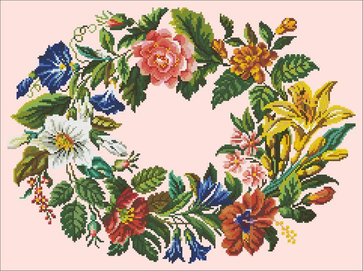 Oval flower wreath | Chart for cross-stitch (Berlin work).