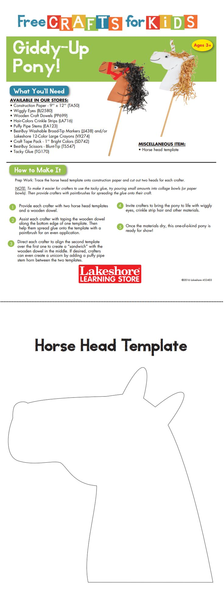 Instruction Sheet from Lakeshore's Free Crafts For Kids event featuring the Giddy-Up Pony!