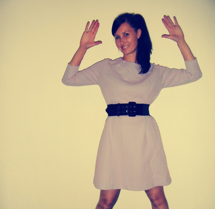 Having fun with a retro photo app. 1960s Crimplene lilac and pale pink dress with a 1980s elastic cinch belt.