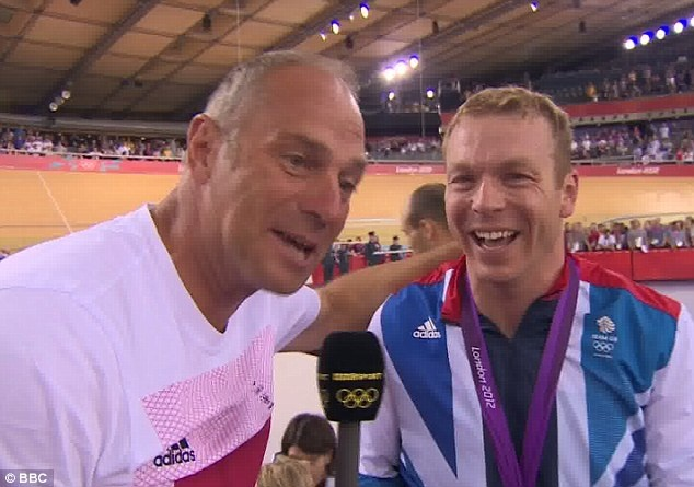 Knights of the realm: Five-time Olympic rowing champion Sir Steve Redgrave (left) congratulates Sir Chris on breaking his gold medal record