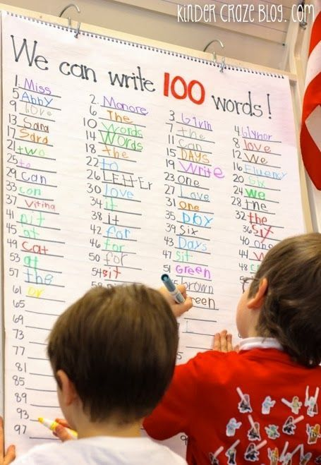 write 100 words on the 100th day of school