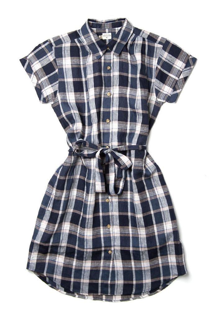 aa8e645dec Merit Ink Blue Plaid Women s Shirt Dress – Bridge   Burn