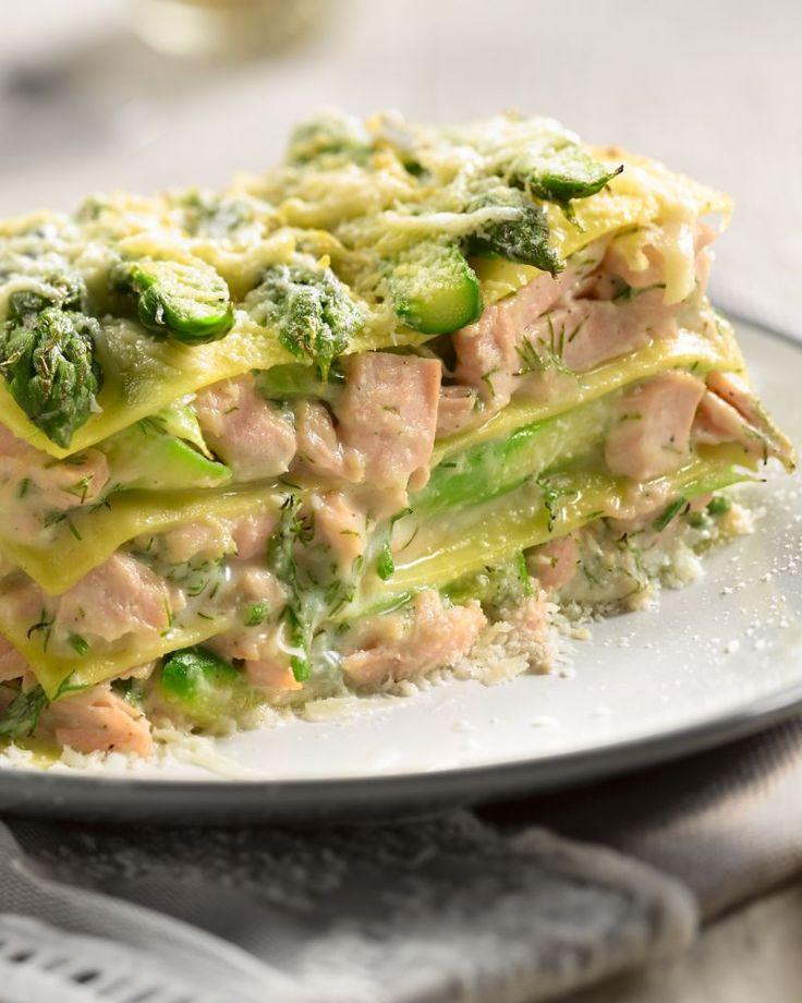 Lasagne met zalm en asperges - 15gram !