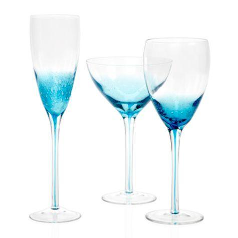 Aquarius Stemware -  Z Gallerie, blue, teal, aqua, destination wedding, wedding reception decor, table setting