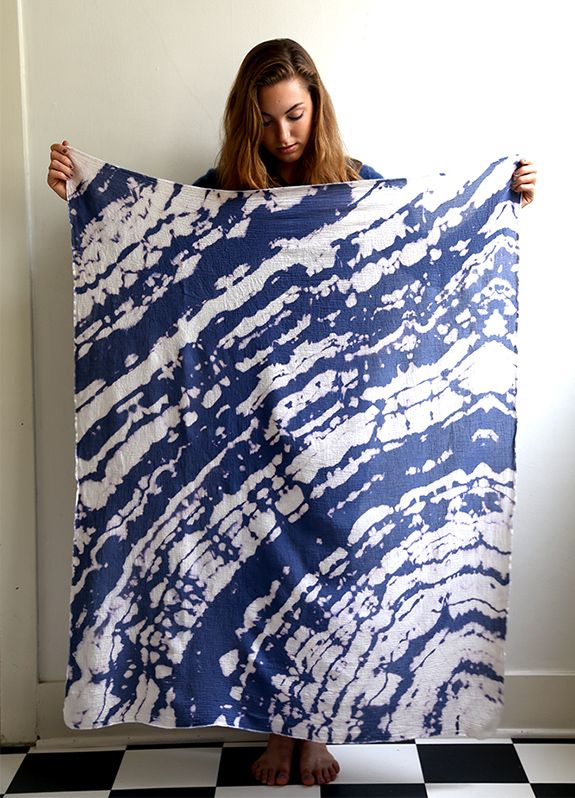 diy tie dye bleach swaddle blanket --- or create the same look for a scarf