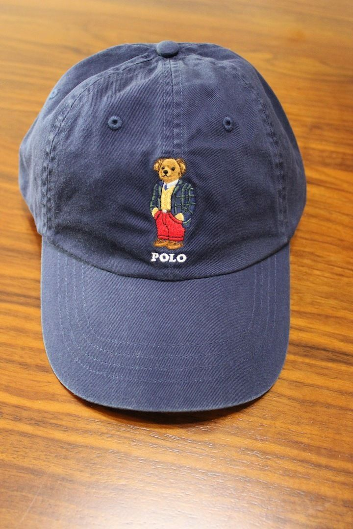 details about polo ralph lauren men blue polo bear chino baseball cap hat one size. Black Bedroom Furniture Sets. Home Design Ideas