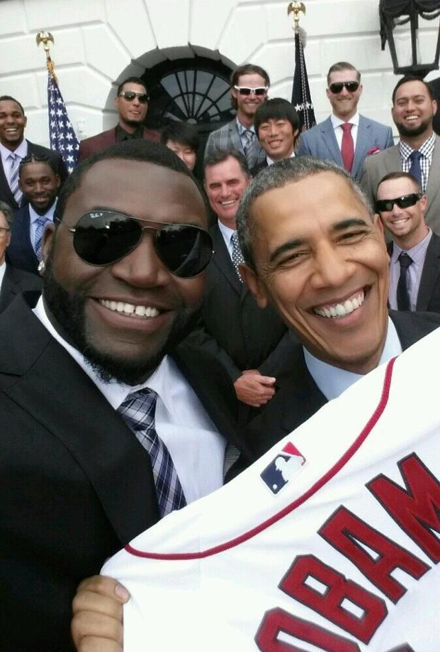 Red Sox  David Ortiz  is the King of the Selfies,here's one with U.S.President Barack Obama