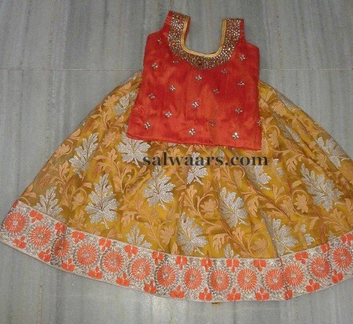Jute Net Floral Shimmer Skirt - Indian Dresses