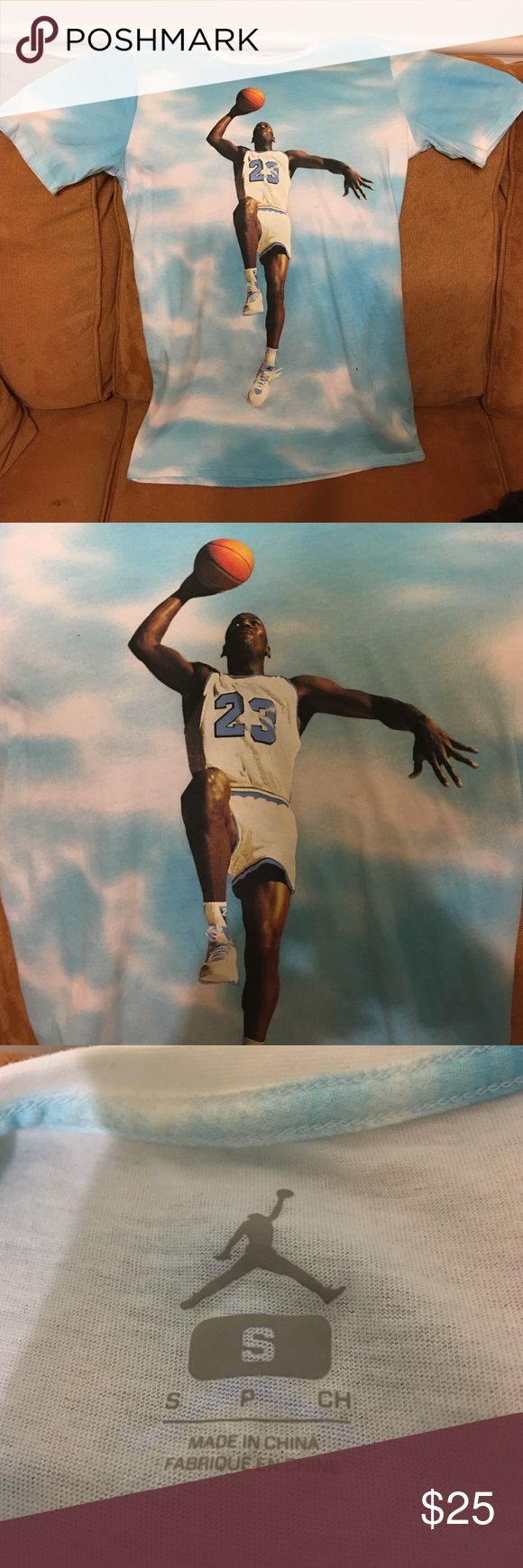 Jordan Tee; Size Small Jordan Tee; Size Small; Blue & White Cloud Michael Jordan 23 Shirt; Barely worn; great condition Jordan Shirts Tees - Short Sleeve