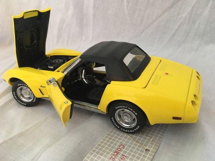 FRANKLIN MINT 1975 Corvette Convertible Yellow 1/24 Diecast B11WN72