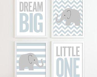 Baby Boy kwekerij Art Chevron olifant kwekerij Decor Kids