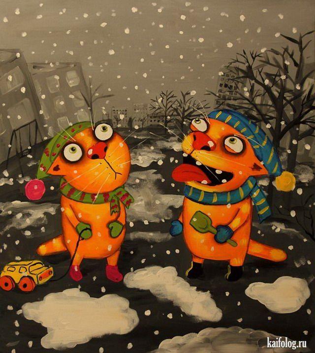 Друзьям, смешные рисунки зимы