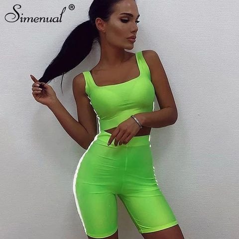 Casual Reflective Striped 2 Pieces Sets Fitness Neon Color Outfits Tank Top And Biker Shorts  – Women Shorts
