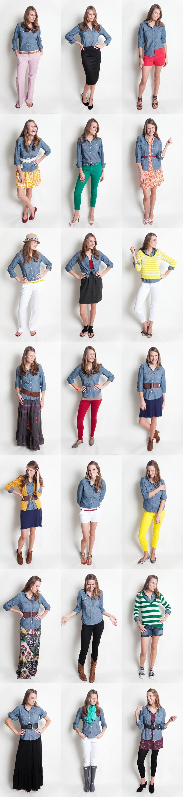 chambray-shirt-project: lots of ideas on how to wear a chambray shirt in a variety of looks.