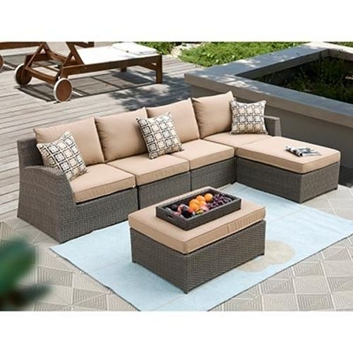 Hampton 6 piece patio deep seating sectional by siriotm 4 for Outdoor sectional sofa costco