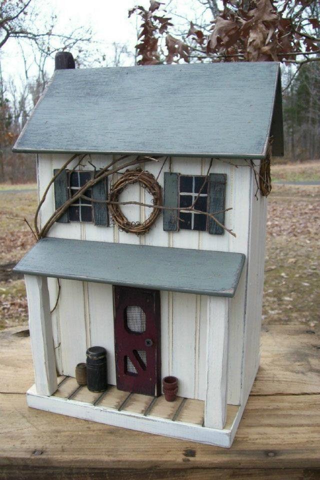 Vintage Folk Art Worn White Functional Farmhouse Primitive Saltbox Birdhouse