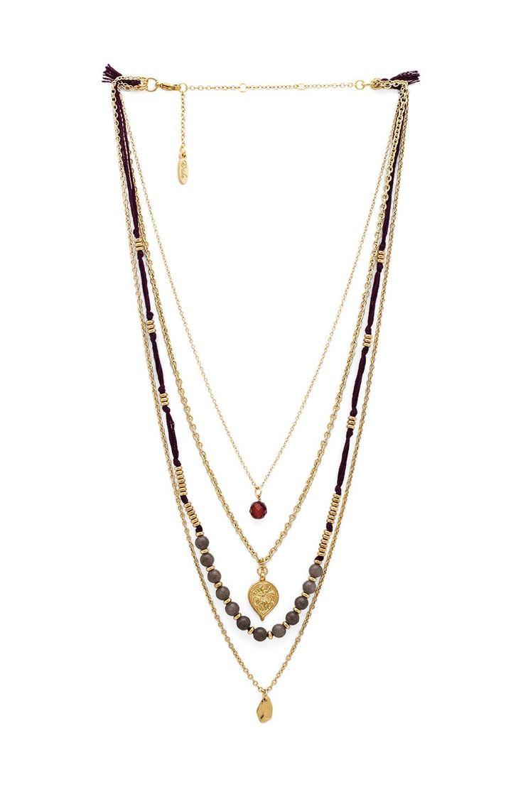 Ettika Multi Layered Necklace in Plum