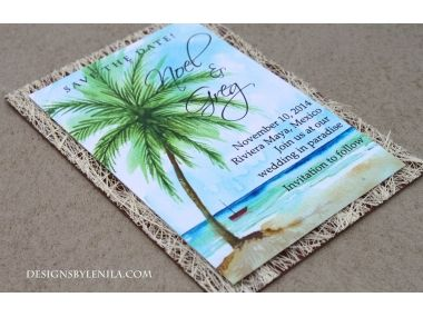 'Tropical Beach' save the date cards from Designs by Lenila. The perfect way to prep your guests for your upcoming dreamy beach wedding! Check out more beach wedding stationary at Designsbylenila.com
