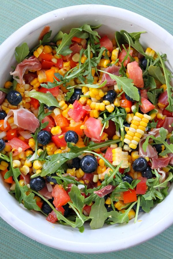 Here's a really unique, beautiful and delicious summer salad for you to try > Blueberry- Corn Salad with Prosciutto.