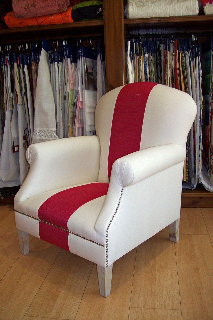 Butaca tapizado algod n blanco linea cosida en un - Pepe penalver telas ...