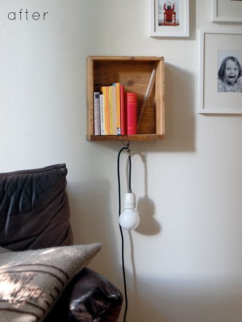 Old drawer to bedside floating shelf with light, Catherine featured on Design Sponge via Remodelaholic