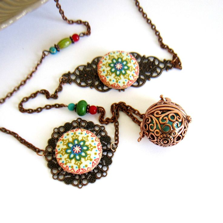 Bola de grossesse ethnique cuivre, vert, bleu turquoise, rouge, cadeau femme enceinte, cabochons mandalas : Collier par color-life-bijoux