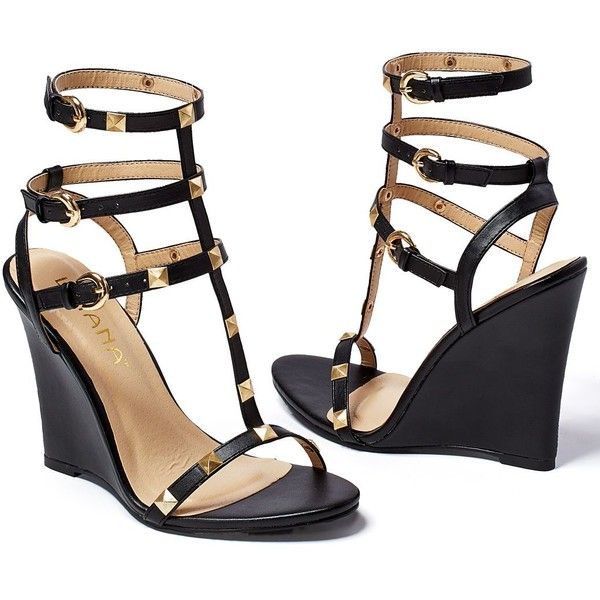 Venus Women's Studded Gladiator Wedge ($30) ❤ liked on Polyvore featuring shoes, black, narrow shoes, high heel wedge shoes, kohl shoes, venus shoes and studded shoes
