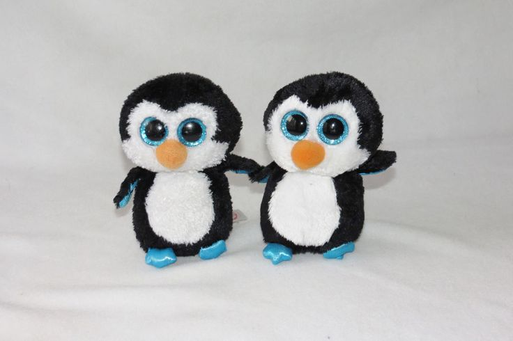 "Beanie Boos 2014 Blue Penguin Waddles Glitter Eyes Small Boo Baby 6"" Ty Lot 2 #Ty"