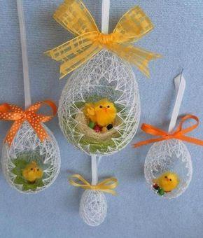 """Come fare un uovo pasquale di spago, con delle spille """"foto tutorial"""" Trovato su icreativeideas.com Trovato su icreativeideas.com"""