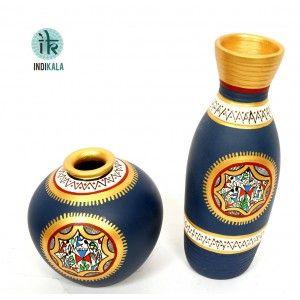 Terracotta Handpainted Warli Vase Set