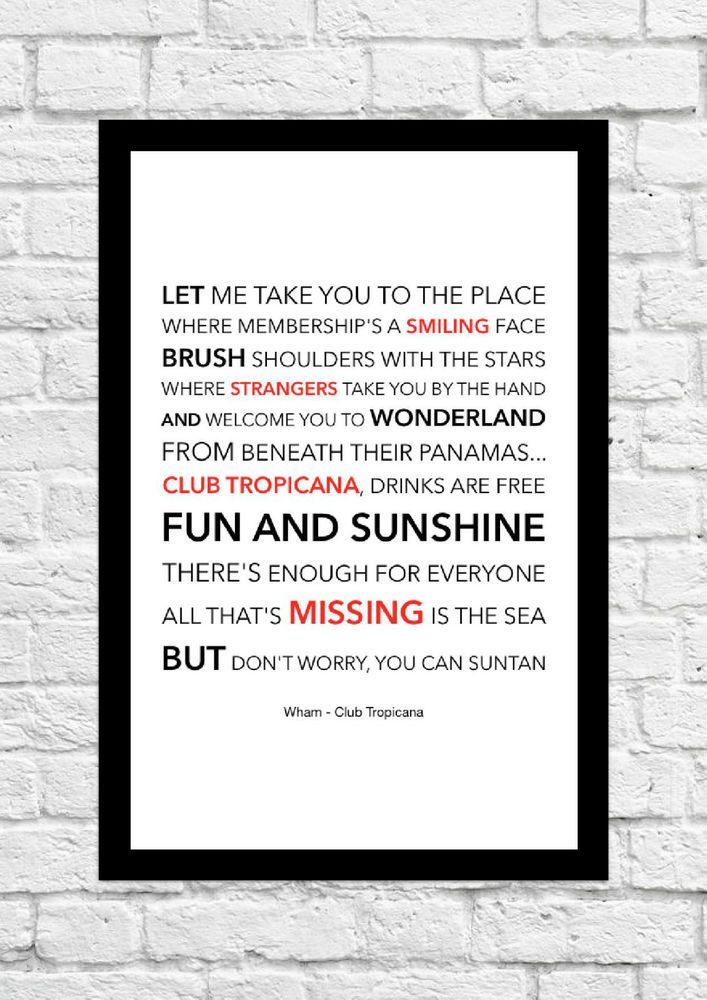 Wham - Club Tropicana - Song Lyric Art Poster - A4 Size