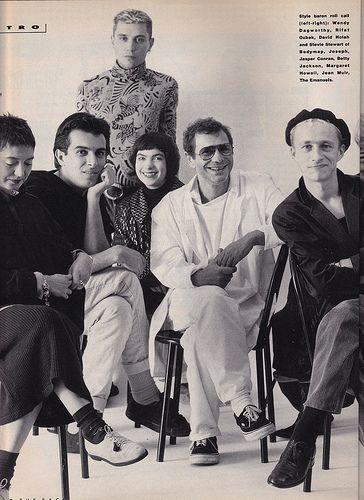 THE FACE November 1985 : Wendy Dagworthy, Rifat Ozbek, David Holah & Stevie Stewart of BodyMap, Joseph, Jasper Conran.