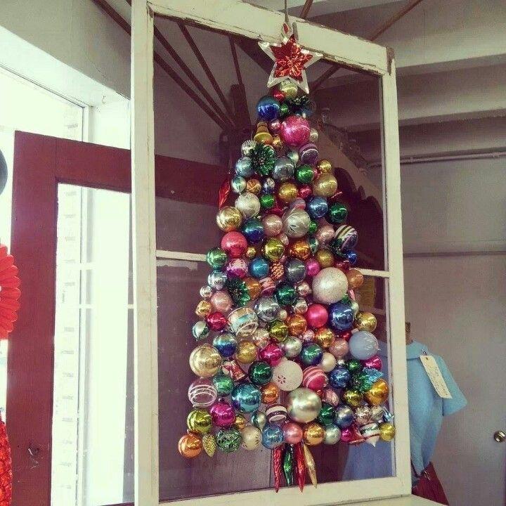 Vintage Christmas ornament tree via Flea Market Style