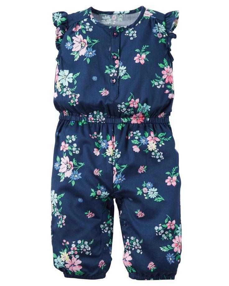 Baby Girl Floral Flutter-Sleeve Jumpsuit | Carters.com