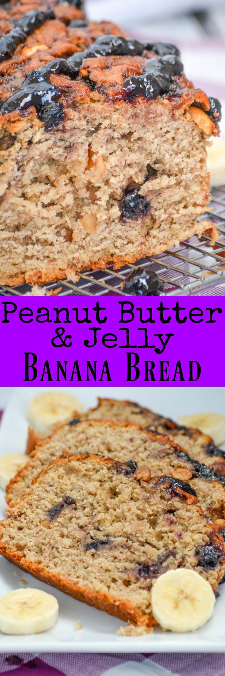 Is it breakfast? Dessert? A snack? This quick and easy Peanut Butter & Jelly Banana Bread is all of the above, and it's amazing. A peanut butter and banana flavored batter with a delicious jelly swirl, this loaf is studded with roasted peanuts and topped with a smooth jelly drizzle. It's a real treat for both kids and adults.