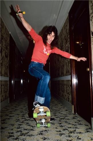 Only a great guitar player can get away with skateboarding in the hallway of a hotel