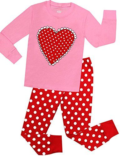 Little Girls Heart Pajamas Children Christmas PJs Kids Cotton Sleepwear 2  Pieces Set Size 5 Years     Click image for more details. (This is an  affiliate ... e913df0b8
