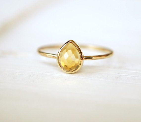 Citrine Ring 14k Stack Ring Rose Gold Ring Yellow Gold by Luxuring