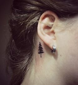 pine tree tattoo behind ear - Google Search