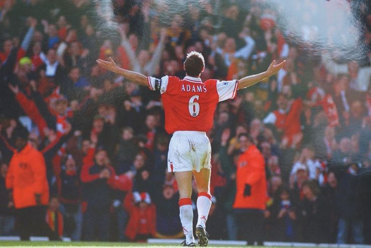 Arsenal captain Tony Adams celebrates scoring for the Gunners to clinch the Premier League title (1998)