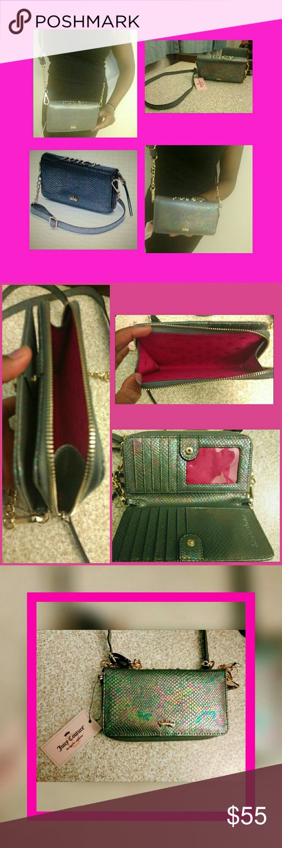 """JUICY COUTURE crossbody       *NWT  *MERC Glamorous bag w/ chic silhouette & adjustable cross-body/chain strap! Opens up to reveal a spacious interior w/ multiple credit card slots & a large zippered compartment designed to keep essentials like your phone, lipstick and makeup compact organized.   Gorgeous hardware bearing the Juicy couture name. Color: Pearl (stunning Hologram color) Measures: 4"""" tall & 7"""" wide Brand New/Never Worn New with Tags!  *ITEM IS LISTED ON MERC for $55 w/ FREE…"""