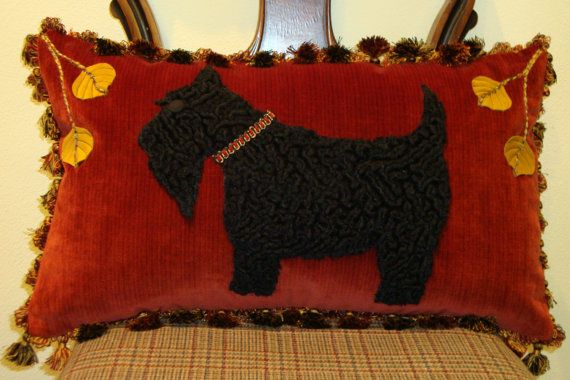 Scottie Dog Pillow with Black Tufted Wool on by SilverNestStudio