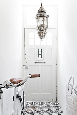 All White Entrance With Moroccan Pendant Light