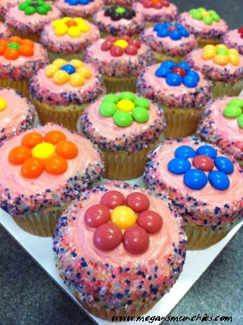 Skittles Flower Cupcakes (pretty much anything is better with skittles)