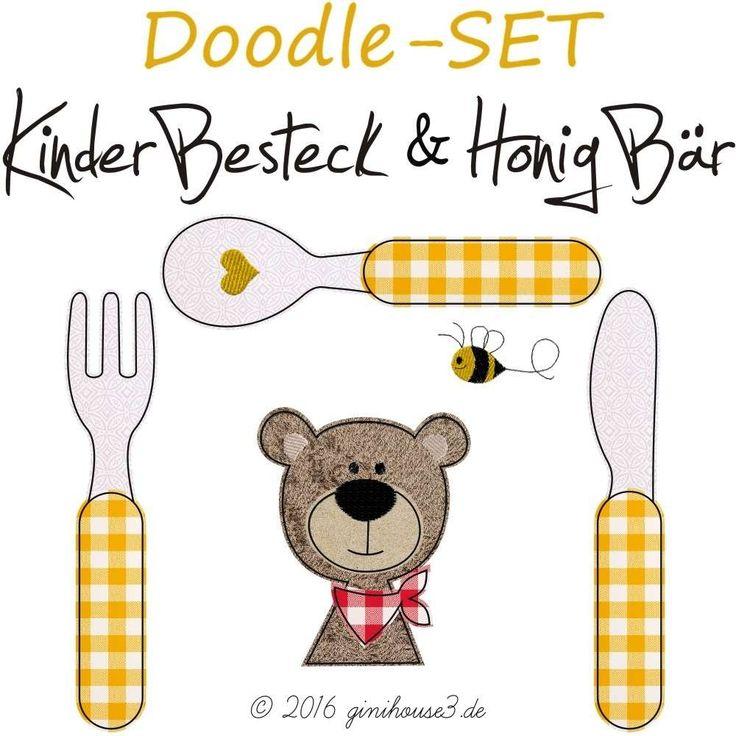 STICKDATEIen Doodle-SET KinderBesteck HonigBär 13x18