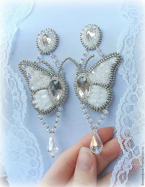"""Earrings """"Butterfly Wings"""".  Handmade. many different crystal , crystal swarovski of different sizes, beads , bohemian beads, crystal drops in suspension by  Catherine Deomidova."""