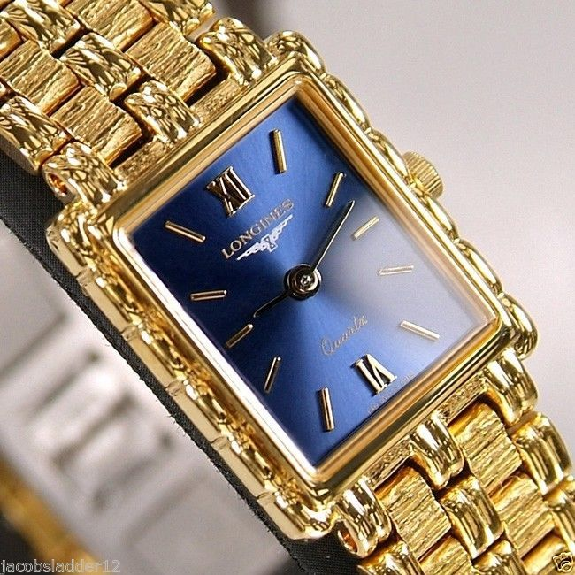 17 best images about longines hens gold watches swiss longines flagship ladies quartz 18k gold plated blue dial vintage watch